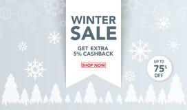 Il modello dell'insegna di vendita dell'inverno con neve si sfalda, cocci del ghiaccio per la vendita di compera Progettazione de immagine stock libera da diritti