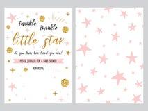 Il modello dell'invito della doccia di bambino, backgtround con le stelle rosa progetta, messo Immagine Stock