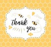 Il modello dell'invito della doccia di bambino con testo vi ringrazia con l'ape, miele Progettazione di carta sveglia per i ragaz Fotografie Stock Libere da Diritti