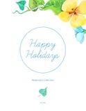 Il modello della cartolina d'auguri con l'estate variopinta dell'acquerello fiorisce Immagini Stock Libere da Diritti