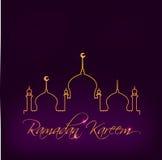 Il modello della cartolina d'auguri per la festa musulmana con l'illustrazione piana della moschea islamica e la mezzaluna moon t Fotografia Stock