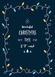 Il modello della cartolina di Natale con l'annata accende la ghirlanda e lo spazio per testo Fotografia Stock