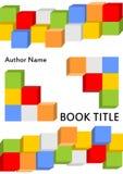 Il modello della copertina di libro nella progettazione moderna con il corredo colorato dei dadi si è combinato in differente Immagini Stock