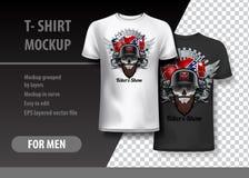 Il modello della maglietta, completamente editabile con i motociclisti mostra il logo Illustrazione di vettore di ENV 10 Immagini Stock Libere da Diritti