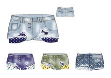 Il modello delle ragazze ha strappato la progettazione di shorts del denim Fotografia Stock Libera da Diritti