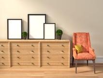 Il modello dello spazio in bianco tre incornicia il manifesto e la sedia illustrazione 3D royalty illustrazione gratis