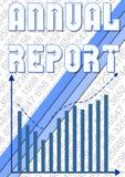Il modello di copertura del rapporto annuale con i piccoli numeri ed il grafico blu con la tendenza in aumento curvano Immagini Stock