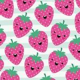 Il modello di frutti di kawaii delle fragole ha messo sulle linee decorative fondo di colore royalty illustrazione gratis