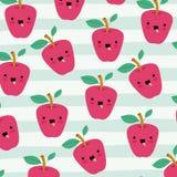 Il modello di frutti di kawaii delle mele ha messo sulle linee decorative fondo di colore illustrazione di stock