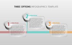 Il modello di Infographic con tre opzioni o i punti per il vostro presen Fotografie Stock
