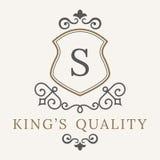 Il modello di lusso di logo fiorisce l'ornamento elegante calligrafico Segno di affari, identità del monogramma per il ristorante Immagini Stock Libere da Diritti