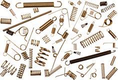 Il modello di metallo balza e bobine isolate su fondo bianco Fotografia Stock Libera da Diritti