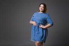 Il modello di moda più di dimensione in jeans casuali copre, donna grassa su fondo grigio, ente femminile di peso eccessivo fotografia stock
