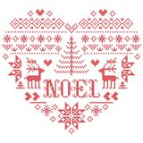 Il modello di Natale del ` nella forma del cuore con la parola di Noel ha ispirato entro l'inverno festivo della cultura nordica  illustrazione vettoriale