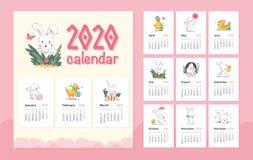 Il modello 2020 di progettazione del calendario del bambino di vettore con il carattere animale del coniglietto bianco sveglio &  royalty illustrazione gratis