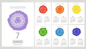 Il modello di progettazione del calendario 2016 con 7 chakras ha messo di 12 mesi, il simbolo di Hinduismo, buddismo illustrazione di stock