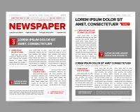 Il modello di progettazione del giornale del quotidiano con la due-pagina che apre i titoli editabili cita gli articoli del testo royalty illustrazione gratis