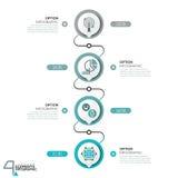 Il modello di progettazione di Infographic, diagramma con 4 elementi circolari successivamente si è collegato dalle linee illustrazione di stock