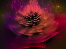 Il modello etereo dell'immagine del fiore futuro digitale decorato astratto di idea ha torto il concetto illustrazione di stock