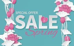 Il modello floreale di vendita della primavera con carta ha tagliato i fiori di loto rosa di fioritura su fondo blu per l'insegna illustrazione di stock