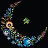 Il modello floreale piega polacco in luna e la stella modellano su fondo nero Immagine Stock Libera da Diritti