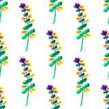Il modello floreale senza cuciture con l'acquerello fiorisce nello stile d'annata illustrazione vettoriale