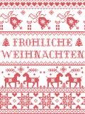 Il modello Frohliche di Natale weihnachten il modello senza cuciture ispirato entro l'inverno festivo della cultura nordica in pu illustrazione vettoriale