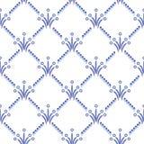 Il modello geometrico di ripetizione nello stile Gzhel Una grata con i piccoli elementi blu Origine etnica illustrazione vettoriale