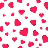 Il modello geometrico senza cuciture, il giorno rosso del ` s del biglietto di S. Valentino del cuore su fondo bianco, barra il m Immagini Stock Libere da Diritti