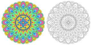 Il modello indiano della mandala Modello per colorare Fotografie Stock
