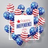Il modello lucido volante della bandiera di U.S.A. Balloons con il quarto luglio, unito festa dell'indipendenza dichiarata, conce Fotografie Stock