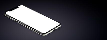 Il modello nero isometrico dello smartphone si trova sull'insegna della superficie di buio con lo spazio della copia immagini stock libere da diritti