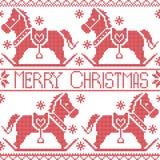 Il modello nordico senza cuciture scandinavo di Buon Natale, il cavallo d'oscillazione del cavallino di dala, le stelle, fiocchi  Fotografia Stock