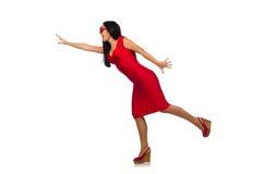Il modello piacevole della donna isolato sui precedenti bianchi Fotografia Stock
