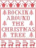 Il modello Rockin di Natale intorno al modello senza cuciture del canto natalizio dell'albero di Natale ha ispirato dal punto fes illustrazione di stock