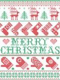Il modello scandinavo di Buon Natale nell'inverno nordico ed il Natale hanno cucito lo stile, compreso i fiocchi di neve, stelle, illustrazione vettoriale