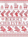 Il modello scandinavo di Buon Natale nell'inverno nordico ed il Natale hanno cucito lo stile, compreso i fiocchi di neve, stelle, illustrazione di stock