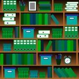 Il modello senza cuciture accantona con i libri nello stile piano di progettazione Immagini Stock Libere da Diritti