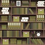 Il modello senza cuciture accantona con i libri nello stile piano di progettazione Immagine Stock Libera da Diritti