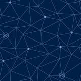 Il modello senza cuciture astratto di spazio cosmico con rete disegnata dei percorsi e stelle o modo indica, illustrazione di vet Immagini Stock Libere da Diritti
