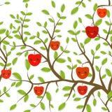 Il modello senza cuciture Brown si ramifica con le foglie verdi, Apple rosso fruttifica museruola divertente di Kawaii con le gua Immagini Stock