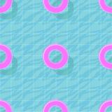 Il modello senza cuciture con acqua blu nella piscina e nella nuotata rosa suona Carta da parati variopinta di estate di vettore Fotografia Stock Libera da Diritti