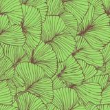 Il modello senza cuciture con il ginkgo biloba lascia, strutturato le vene disegnate a mano della foglia del profilo illustrazione di stock