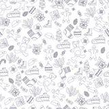 Il modello senza cuciture con gli abeti disegnati a mano, il regalo, gli archi, natale di vettore gioca Fondo stagionale di inver illustrazione vettoriale
