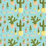 Il modello senza cuciture con i cactus in vasi delle forme e dei colori differenti ha creato in un divertimento, styl sveglio Fotografia Stock Libera da Diritti