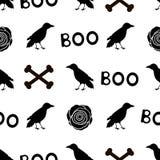 Il modello senza cuciture con i corvi del nero, parole fischia, rose e disossa la o Fotografia Stock