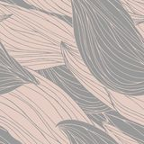 Il modello senza cuciture con i whorls ricci, profilo disegnato a mano strutturato ondeggia ed i petali lascia le vene illustrazione vettoriale