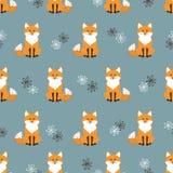 Il modello senza cuciture con il fumetto sveglio foxes sul blu Fotografie Stock