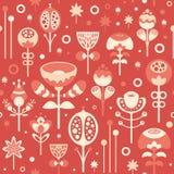 Il modello senza cuciture con il Natale fiorisce su fondo rosso Immagini Stock