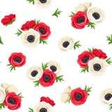 Il modello senza cuciture con l'anemone rosso e bianco fiorisce Illustrazione di vettore Fotografie Stock Libere da Diritti